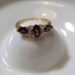 Jewelry - Estate Garnet Colored Cocktail Ring w/CZ